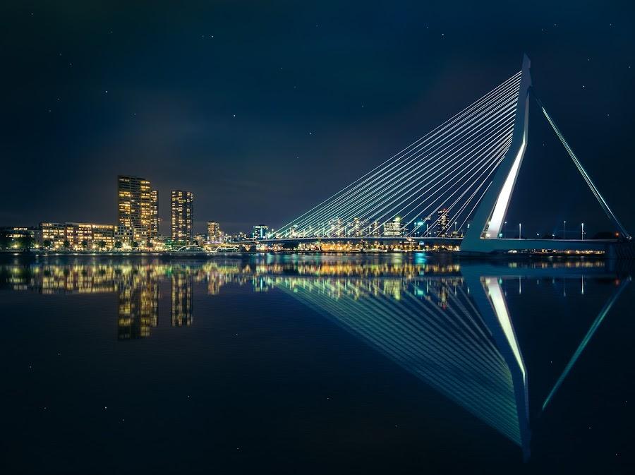 Rotterdam by Marlou Nijpels - Buildings & Architecture Bridges & Suspended Structures ( holland, night, bridge, architecture, city,  )
