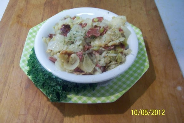 ENJOY...warm or cold... A sausage (doesn,t have to be German)  and red beets..would round out...