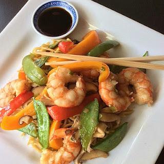 Sizzling Shrimp with Yakisoba Noodles.