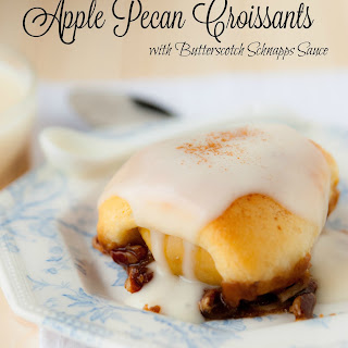 Apple Pecan Croissants with Butterscotch Schnapps Sauce