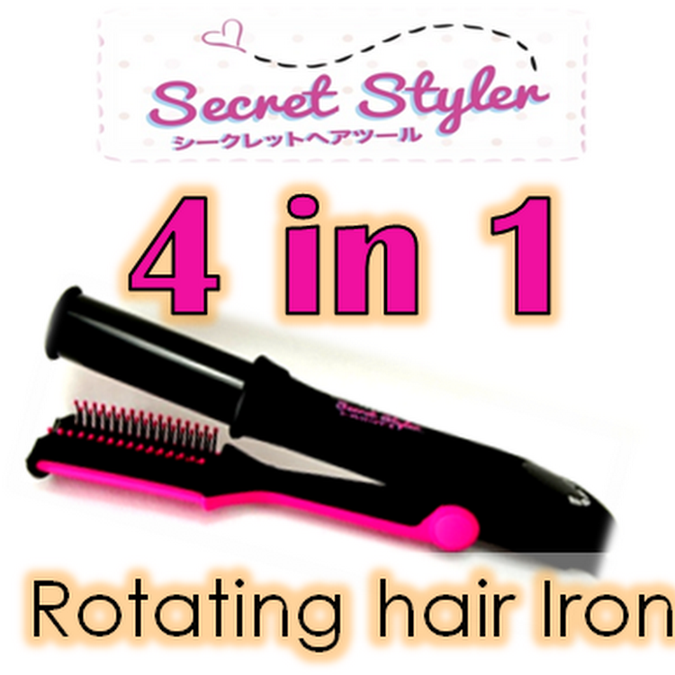 Secret Styler - 4-in-1 Hair Rotating Curling/Straightening Iron + 1 Year Warranty by Supermodels Secrets