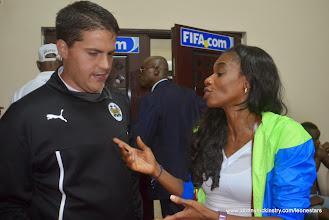 Photo: SLFA President Isha Johansen congratulates Johnny McKinstry, Head Coach of Leone Stars on the victory [Leone Stars Vs. Equatorial Guinea, 7 Sept 2013 (Pic: Darren McKinstry)]