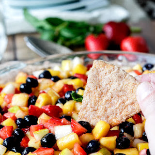 Rainbow Salsa Fruit Cheesecake Dip