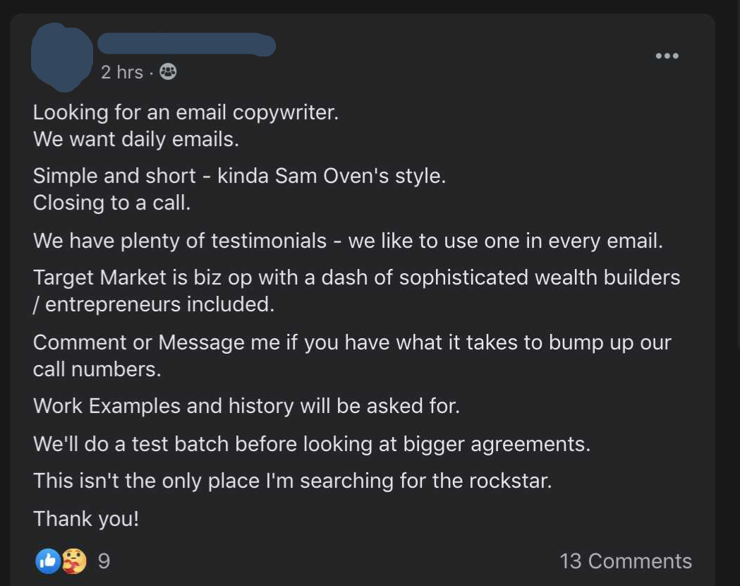 a screenshot of a job ad from Facebook