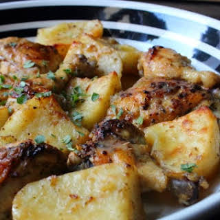 Greek Lemon Chicken and Potatoes – Both Homers Would Love This.