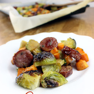 One Pan Sausage, Brussels Sprouts, & Sweet Potatoe.