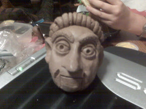 Photo: Clay puppet head before firing. Clay is far more workable than Model Magic, but not as workable as plasticine. Unfortunately plasticine does not dry, and clay is far too heavy for a puppet.