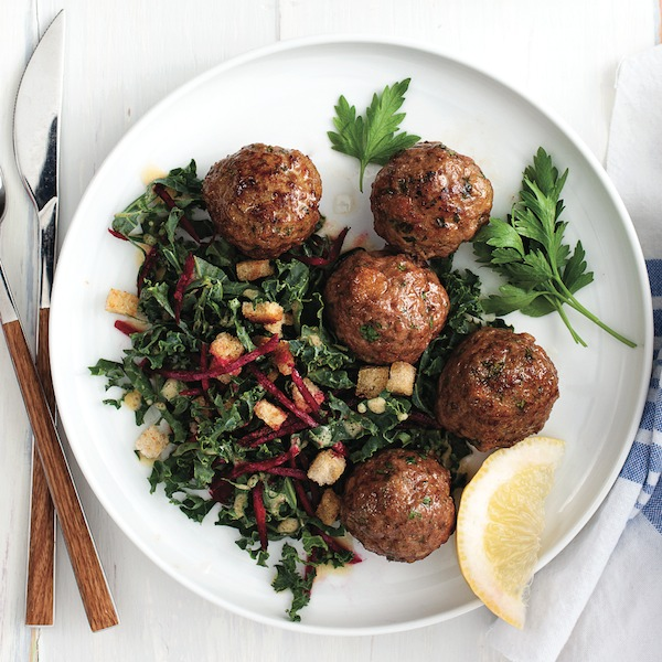 Nordic Meatballs with Beet and Kale Salad Recipe