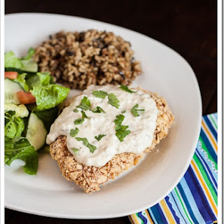 Tortilla Chip Crusted Chicken with Jalapeno Cream Sauce
