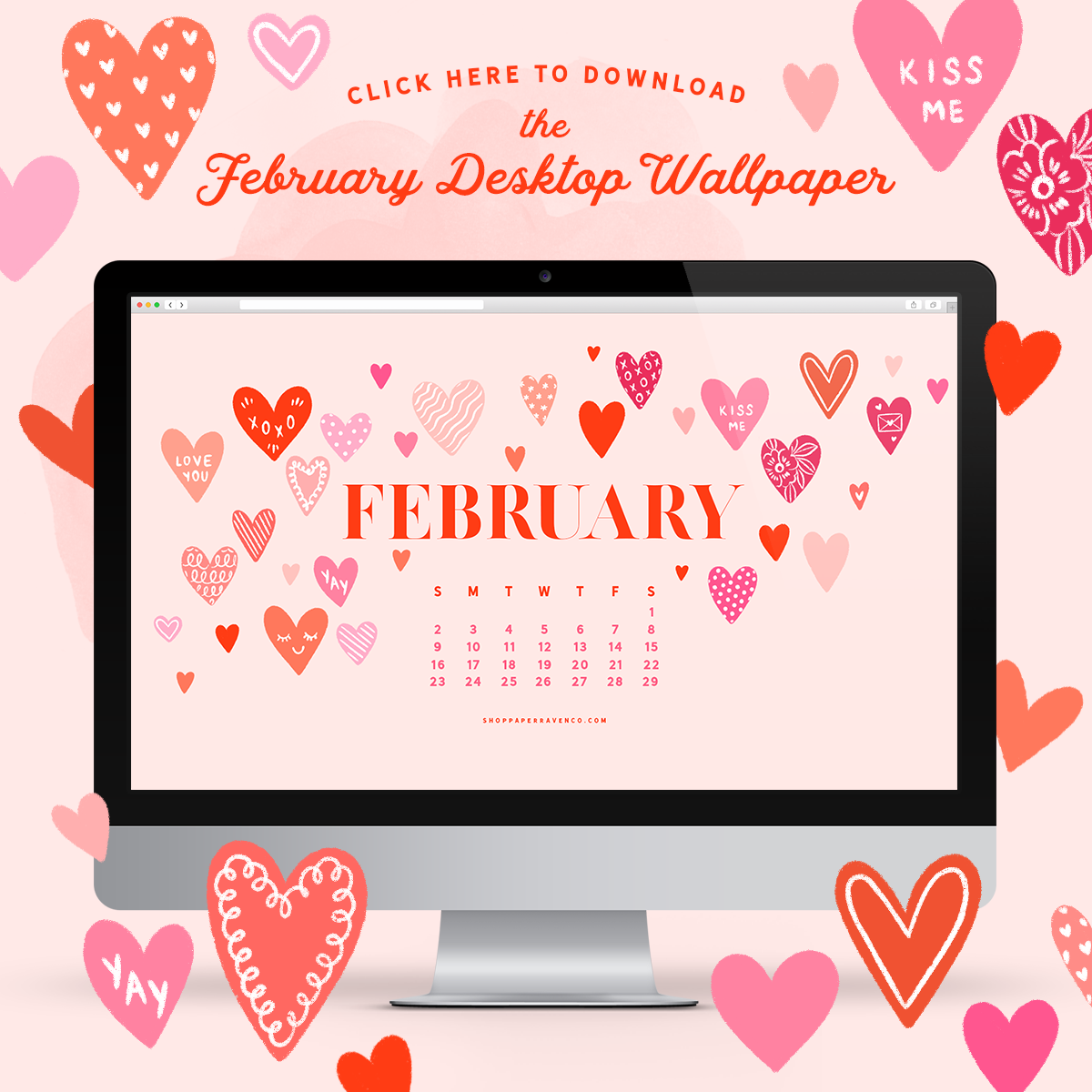 February 2020 Illustrated Desktop Wallpaper by Paper Raven Co. | www.ShopPaperRavenCo.com #desktopwallpaper #dressyourtech #desktopdownload