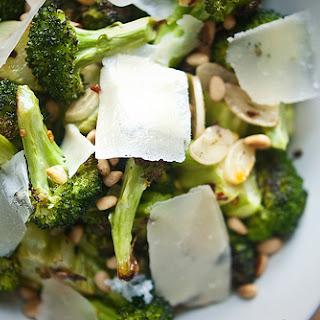 Spicy Garlic Roasted Broccoli with Lemon, Pine Nuts, and Grana Padano