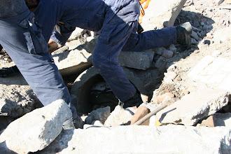 Photo: Volunteer Victims are hidden below the rubble