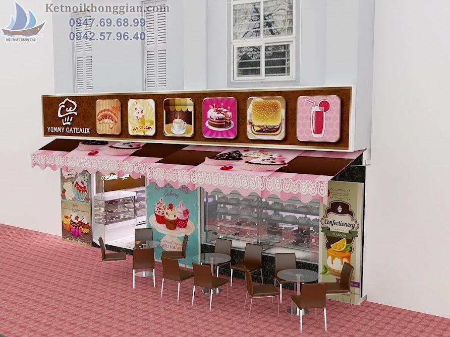 thiết kế cửa hàng bánh ngọt thoáng và rộng