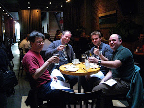 Photo: OpenSocial O'Reilly book team gathering: Mike Loukides, our editor, Chris Chabot, Arne Roomann-Kurrik, Chris Schalk