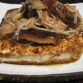 Tofu Steak With Mushroom Sauce.