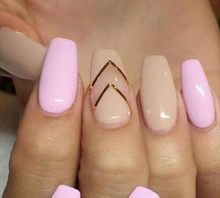 Pink and beige nails