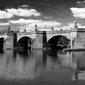 Wurzburg by Oleksii Liebiediev - City,  Street & Park  Historic Districts ( b&w, bridge, wurzburg, city, river,  )