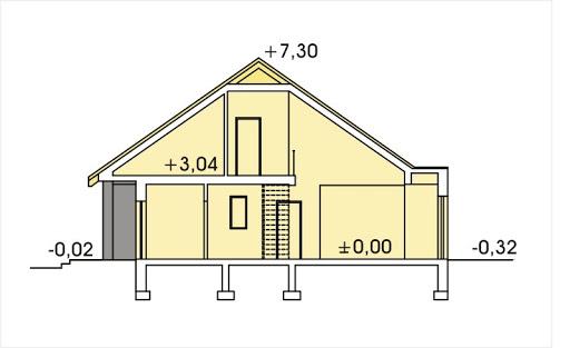 Bartek wersja B z pojedynczym garażem - Przekrój