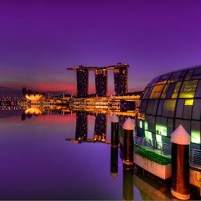 Marina Bay Sands overlooking the sunrise by Edwin Ng - Landscapes Sunsets & Sunrises ( sands, lion, dawn, bay, marina, sunrise, singapore, city )