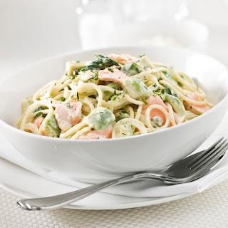 Nutritious Creamy salmon pasta .