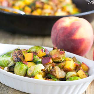 Brussels Sprouts with Peaches and Bacon.