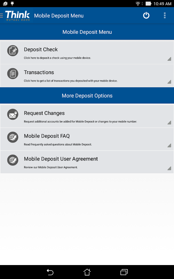 Think Mutual Bank Mobile App- screenshot