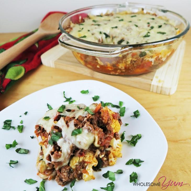 Roasted Cauliflower Beef Marinara (Low Carb, Gluten-free)