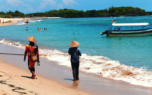 Nusa Dua beach on the southern coast of Bali.