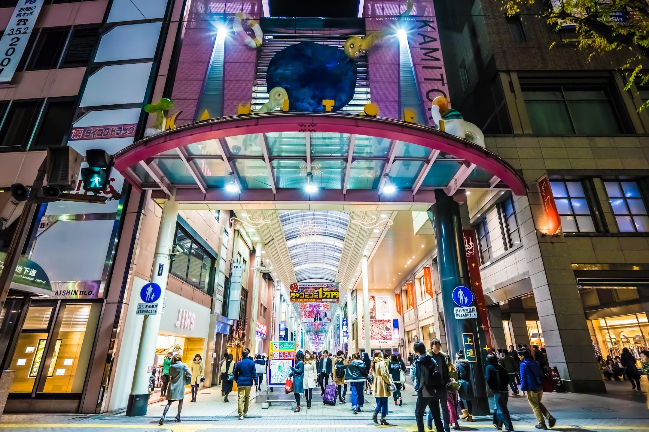 熊本 夜 上通商店街1
