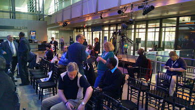 Photo: NASA Social participants await the start of the Hubble 25th Anniversary Image Unveiling press conference.