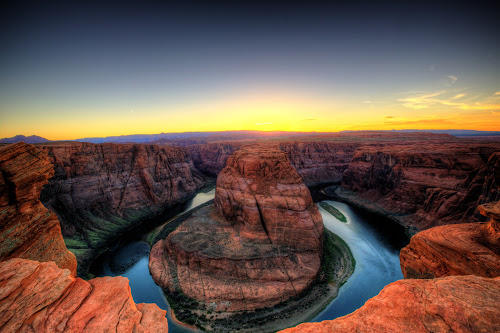 Horseshoe Bend  by Dave Files - Travel Locations Landmarks ( famous landmarks, colorado river, az, desert, digital, rocks )