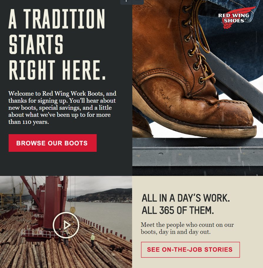 Red Wing boots email example.