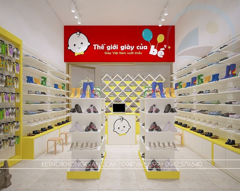 thiết kế shop giày dép trẻ em hiện đại