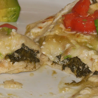 Crab and Spinach Enchiladas.