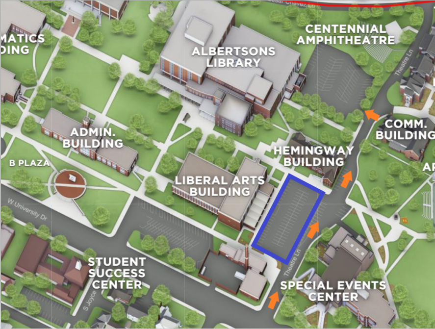 Map - Parking lot of Liberal Arts building on Theatre Ln, next to Special Events Center and Hemingway Building