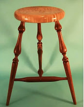 Photo: Along with the demonstration, he had two handouts, one detailing how to create a full-sized three-legged stool and the other on making a miniature stool. You can view Alan's handouts in PDF format by going to the MCW website and clicking on Links.