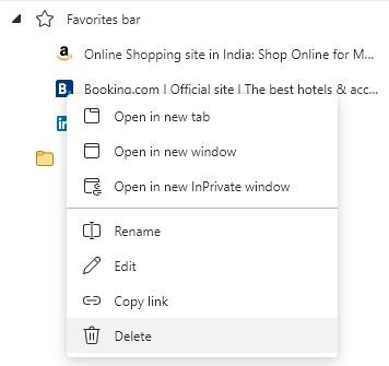 Favorites bar in Microsoft Edge browser