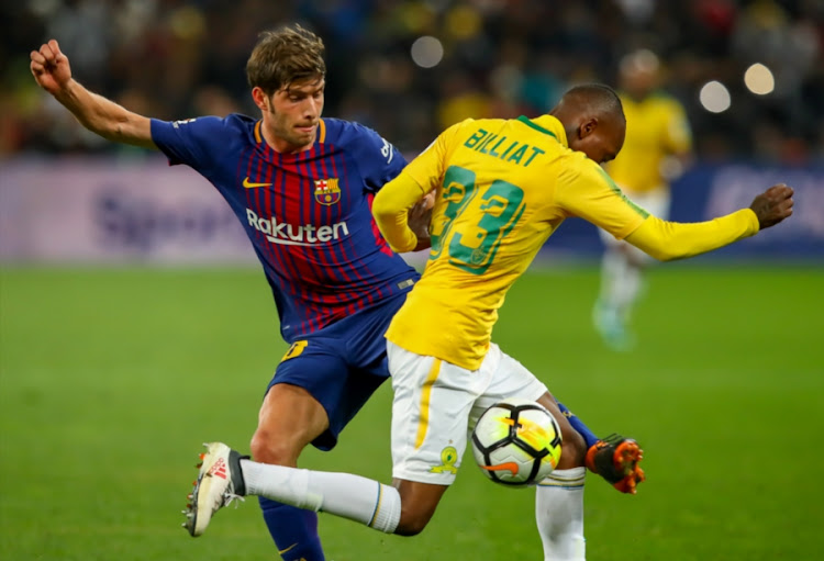 1a18780fb Sergio Roberto of Barcelona tries to win the ball from Khama Billiat of Mamelodi  Sundowns during