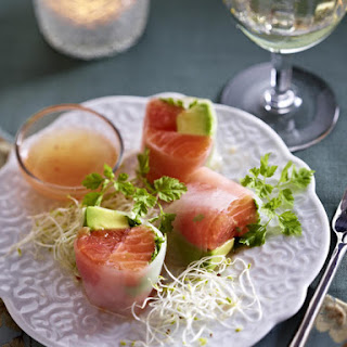Salmon, Grapefruit and Avocado Spring Rolls