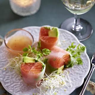 Salmon, Grapefruit and Avocado Spring Rolls.