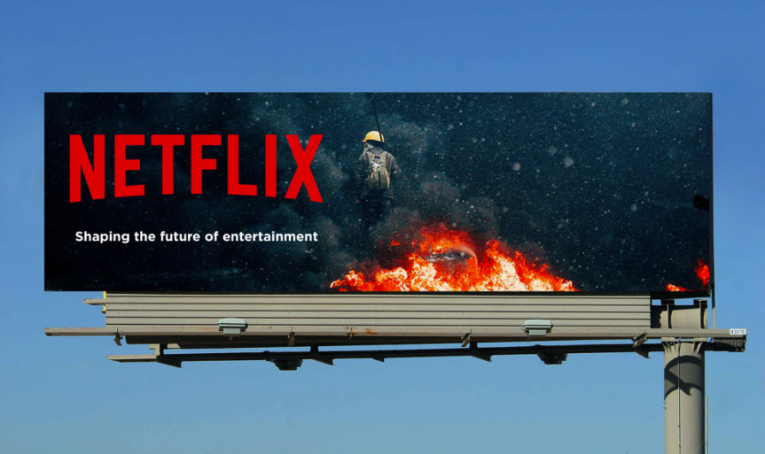 A Netflix billboard with an image of an astronaut and the text 'Shaping the future of entertainment'.