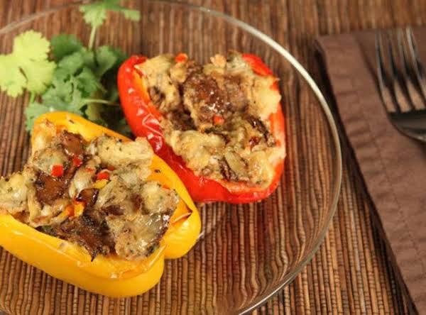 Stuffed Tri-color Pepper W/artichoke-mushroom
