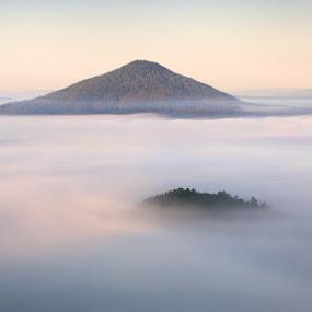 Foggy flood by Pavel Klásek - Landscapes Mountains & Hills ( hill, foggy, fog, pink hill, bohemian switzerland, růžák, růžovský, české švýcarsko, mist )