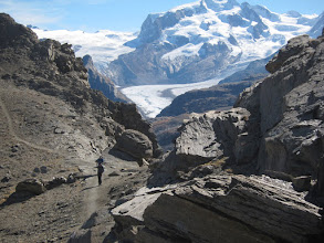 Photo: The view back is dominated by Monte Rosa, Switzerland's highest peak, and the Gorner glacier.