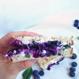 Blueberry Basil & Goat Cheese Panini Sandwich.