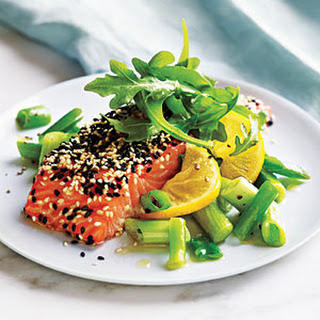 Sesame Salmon with Green Onions and Lemon