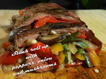 Grilled skirt steak rolls