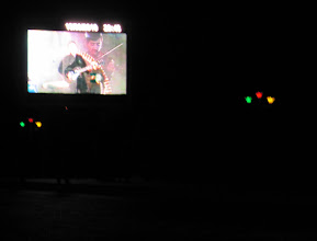 Photo: Day 166 - Large TV Screen on Side of Park in  Pendzhiikent