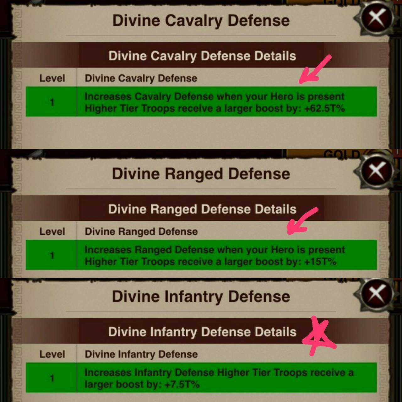 infantry defense while heroless