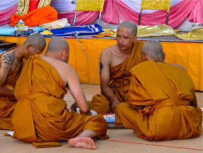 Photo: monks partaking of the food offered in merit-making ceremony, Wat Phra That Doi Kong Mu